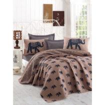 Hnedá ľahká prikrývka cez posteľ Fil, 160x&...