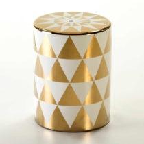 Taburetka so vzorom v bielo-zlatej farbe Thai Natura