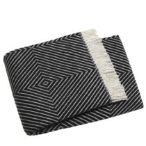 Čierny pléd s podielom bavlny Euromant Tebas, 140×18...