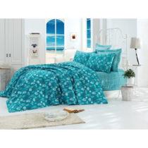 Tyrkysový bavlnený pléd cez posteľ na dvojlô&#x17E...