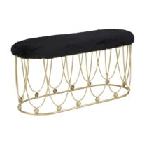 Čierna polstrovaná lavica so železnou konštrukciou v zlatej f...