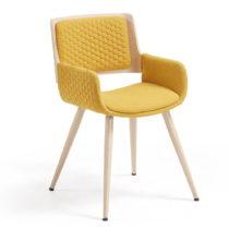 Horčicovožltá stolička s drevenou podnožou a opierk...