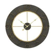 Čierne nástenné hodiny s detailmi v zlatej farbe Mauro Ferretti Norah, &...
