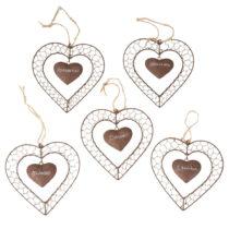 Sada 5 závesných dekorácií Antic Line Heart