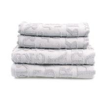 Set 2 sivých uterákov a 2 osušiek z bavlny Casa Di Bassi Typo