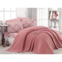 Set ružovej bavlnenej prikrývky, plachty a 2 obliečok na vankú...