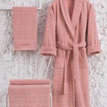 Set ružového bavlneného dámského župana ve&a...