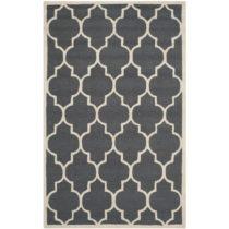 Tmavosivý vlnený koberec Everly 91×152 cm