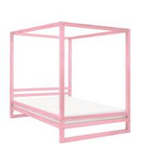Ružová drevená dvojlôžková posteľ ...