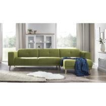 Zelená pohovka s leňoškou a podnožkou Bobochic Paris Luna, pr...