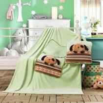 Svetlozelená detská deka z mikrovlákna DecoKing Cuties Puppy, 110 x 160 c...