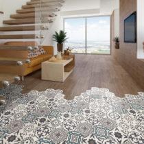 Sada 10 samolepiek na podlahu Ambiance Floor Stickers Hexagons Solenna, 40×&#...