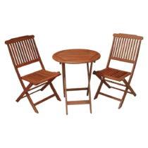 Set 2 balkónových stoličiek a stola z eukalyptového dreva ADDU ...