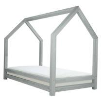 Sivá detská posteľ z lakovaného smrekového dreva Benle...
