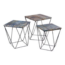 Sada 3 odkladacích stolíkov s modrou doskou z mangového dreva House Nordi...