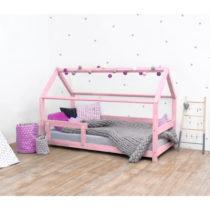 Ružová detská posteľ s bočnicami zo smrekov&#xE9...