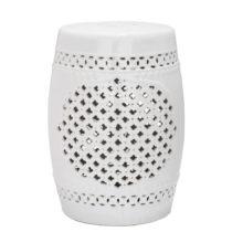 Biely odkladací keramický stolík vhodný do exteriéru Sa...