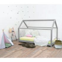 Sivá detská posteľ bez bočníc zo smrekového ...