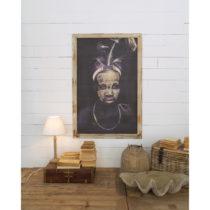 Nástenný obraz s rámom z mangového dreva Orchidea Milano Tribal,...