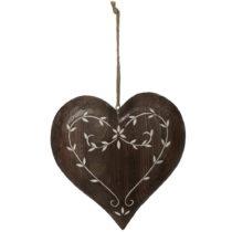 Závesná drevená dekorácia v tvare srdca Antic Line Spring Time