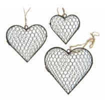Sada 3 dekorácií Antic Line Hanging Hearts