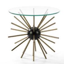 Odkladací stolík zo skla a kovu Thai Natura Hedgehog