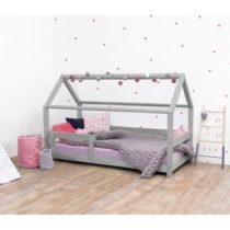 Sivá detská posteľ s bočnicami zo smrekového dreva Be...