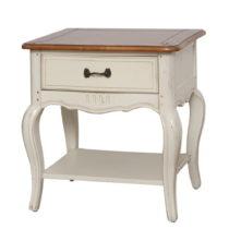 Krémovobiely nočný stolík z brezového dreva Livin Hill...