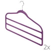 Sada 2 fialových vešiakov na nohavice Domopak Living
