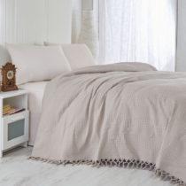 Hnedý bavlnený ľahký pléd na posteľ Brown, 2...