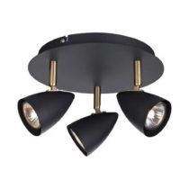 Čierne stropné svietidlo s detailmi v mosadznej farbe Markslöjd Ciro Tre...