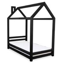 Detská čierna posteľ zo smrekového dreva Benlemi Happy, 80&...
