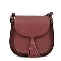 Vínovočervená kožená kabelka Anna Luchini Tess