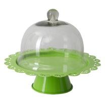 Zelený servírovací stojan na tortu so skleneným poklopom Mauro F...