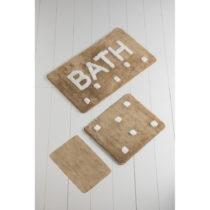 Sada 3 hnedých kúpeľnových predložiek Bath