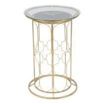 Príručný stolík s hodinami a konštrukciou v zlatej fa...