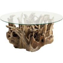 Sklenený odkladací stolík s podstavcom z teakového dreva Kare De...