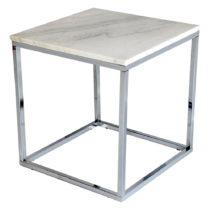 Biely mramorový odkladací stolík s chrómovanou podnožo...