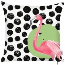 Čierno-biela obliečka na vankúš Apolena Dots Flamingo, 43&...