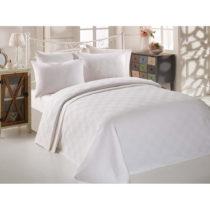 Biely bavlnený pléd cez posteľ na dvojlôžko Single Pi...