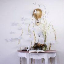 Sada 12 strieborných samolepiek Ambiance Butterflies
