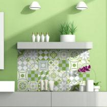Sada 24 nástenných samolepiek Ambiance Green Patchwork Tiles, 10 × 10 cm