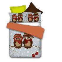 Obojstranné obliečky z mikrovlákna DecoKing Owls Winterstory, 135&#x...