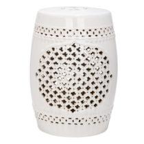 Krémovobiely keramický stolík vhodný do exteriéru Safav...
