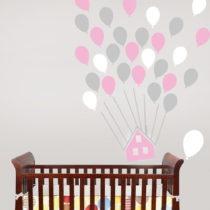 Sada nástenných samolepiek House With Balloons Pink