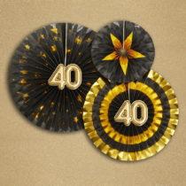 Sada 3 papierových dekorácií Neviti Glitz & Glamour 40 Goldie