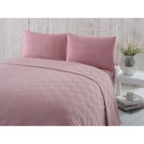Ružový bavlnený pléd na dvojlôžko s plachtou...