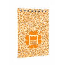 Oranžový bloček na poznámky A7 Makenotes Paisley One, 64 listo...
