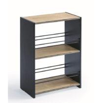 Menšia čierna knižnica s policami v prírodnej farbe Black Sma...
