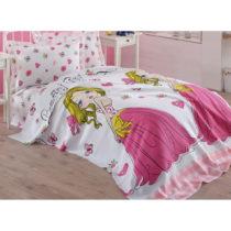 Ružová detská prikrývka cez posteľ z čistej...